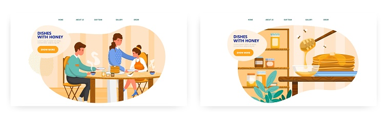 Dishes with honey landing page design, website banner vector templates. Family eating pancakes with honey for breakfast.