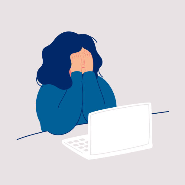 Disheveled woman sits at the computer and crying covering her face with her hands. Disheveled woman sits at the computer and crying covering her face with her hands. Weeping woman emotions grief. Concept of solitude and loneliness.  Cartoon vector illustration in flat style tired woman stock illustrations