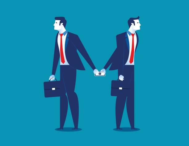 ilustrações de stock, clip art, desenhos animados e ícones de dishonesty. businessman giving money to man behind back. concept business illustration. vector business finance. - corruption