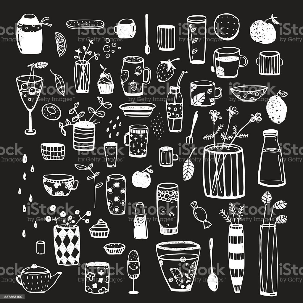 geschirr und kritzeleien l ckenhaft wei auf schwarz f r design grafikkollektion stock vektor. Black Bedroom Furniture Sets. Home Design Ideas