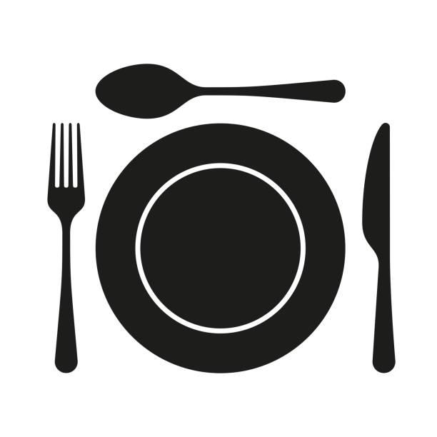 bildbanksillustrationer, clip art samt tecknat material och ikoner med ikoner för dishware symbol. gaffel, sked kniv och en skylt ikoner. mål tids symbol - empty plate