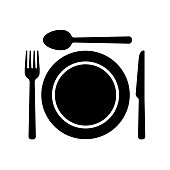 Dishware symbol icons. Fork, spoon knife and a plate icons. Meal symbol.