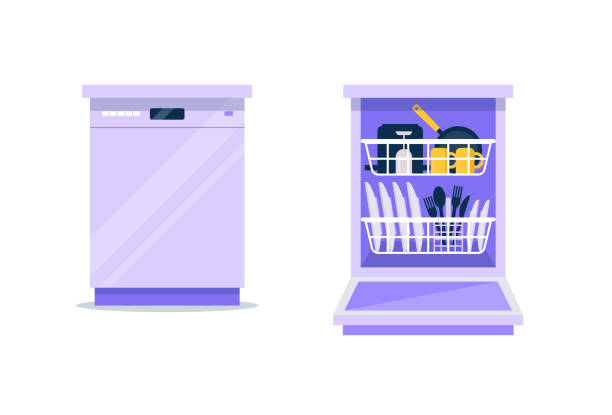 Dishwasher flat vector illustration. Closed and opened dishwasher machine with clean dishes in it, plates, cutlery, cups, pan. Template for household, kitchen. vector art illustration