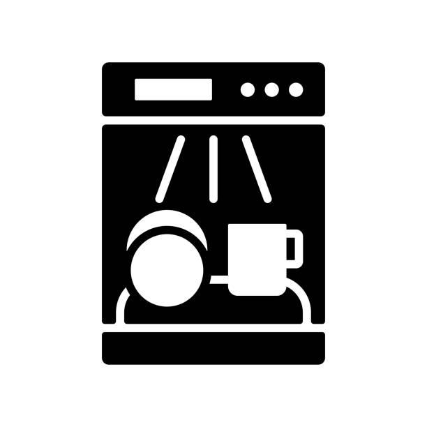 Dishwasher glyph icon. Electric kitchen appliance Dishwasher vector glyph icon. Electric kitchen appliance. Graph symbol for cooking web site design, logo, app, UI dishwashing machine stock illustrations