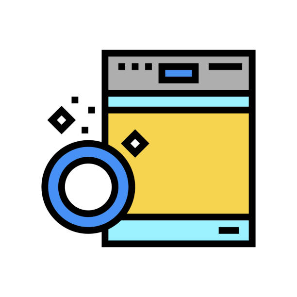 dishwasher machine color icon vector illustration dishwasher machine color icon vector. dishwasher machine sign. isolated symbol illustration dishwashing machine stock illustrations