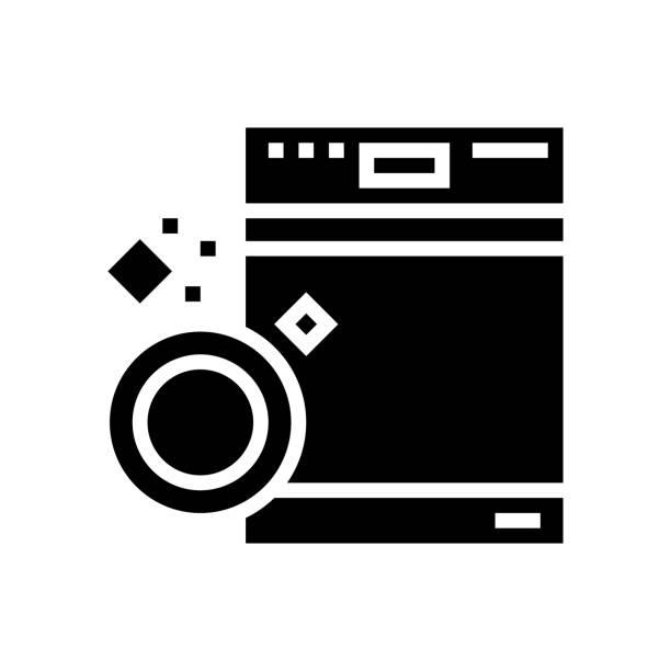dishwasher machine glyph icon vector illustration dishwasher machine glyph icon vector. dishwasher machine sign. isolated contour symbol black illustration dishwashing machine stock illustrations