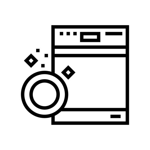 dishwasher machine line icon vector illustration dishwasher machine line icon vector. dishwasher machine sign. isolated contour symbol black illustration dishwashing machine stock illustrations