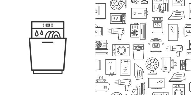 Dishwasher sign and vector seamless pattern with household appliances line style icons Dishwasher sign and vector seamless pattern with household appliances. Line style icons isolated on white background dishwashing machine stock illustrations