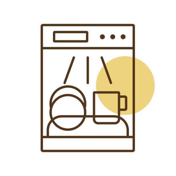 Dishwasher vector icon. Electric kitchen appliance Dishwasher vector icon. Electric kitchen appliance. Graph symbol for cooking web site design, logo, app, UI dishwashing machine stock illustrations
