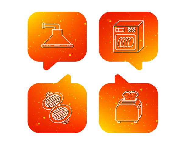 geschirrspüler, waffel-bügeleisen und mini-größen. - waschküchendekorationen stock-grafiken, -clipart, -cartoons und -symbole