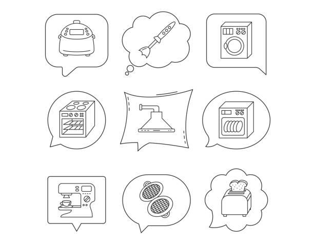 geschirrspüler, waschmaschine und mixer symbole. - waschküchendekorationen stock-grafiken, -clipart, -cartoons und -symbole