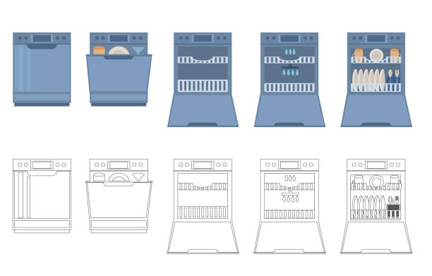 Dishwasher with open, closed doorempty, with dishes. Modern household appliance for washing utensil, dishware  isolated on a white background. Vector illustration in flat and linear style. Dishwasher with open, closed doorempty, with dishes. Modern household appliance for washing utensil, dishware  isolated on a white background. Vector illustration in flat and linear style. dishwashing machine stock illustrations