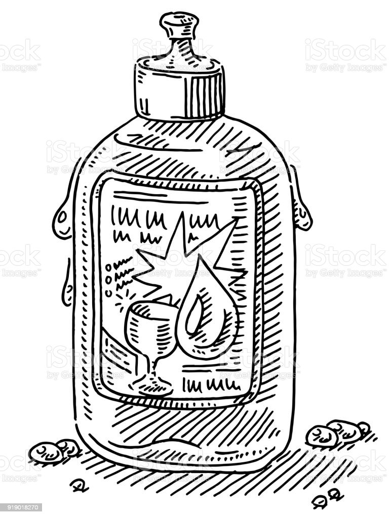 Dishwashing Detergent Container Drawing vector art illustration