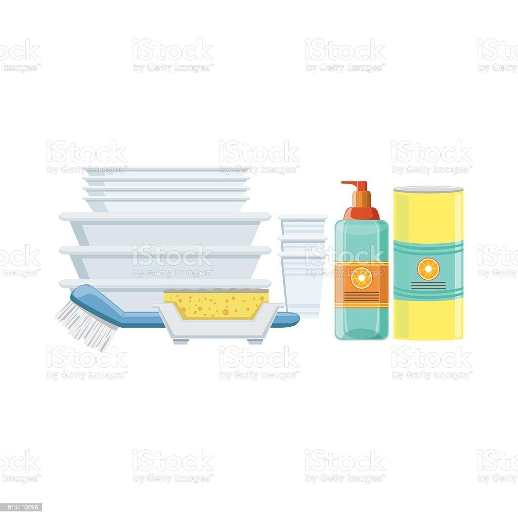 Dishwashing Household Equipment Set vector art illustration