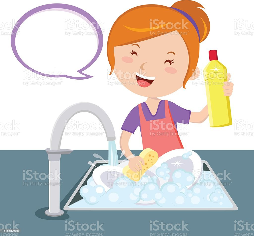 Dish-washing vector art illustration