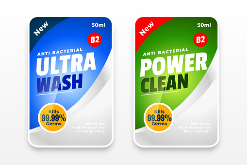 disinfectant and cleaner two labels template design concept