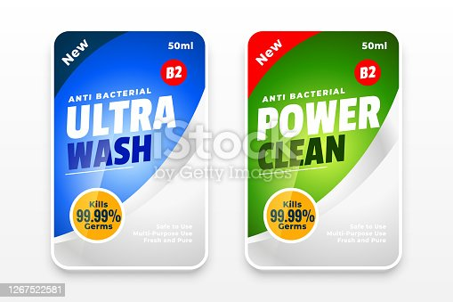 desinfectante y limpiador dos etiquetas concepto de diseño de plantilla