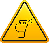 Disinfectant Spray Icon. This 100% royalty free vector illustration is featuring a yellow triangle button with rounded corners. The surface of the button is shiny and has a light effect on top. The main icon is depicted in black. There also a thin black outline around the edges of the triangle.