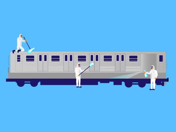 地下鉄の車を消毒する - corona newyork点のイラスト素材/クリップアート素材/マンガ素材/アイコン素材