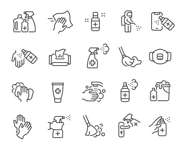 disinfection and cleaning icon set. editable vector stroke - coronavirus stock illustrations