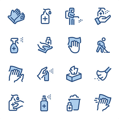 Disinfection and Cleaning icons set #26 Specification: 16 icons, 36x36 pх, stroke weight 2 px Features: Pixel Perfect, Dichromatic, Single line   First row of icons contains: Protective glove, Liquid disinfectant dispenser, Man in Disinfection Protective Suite, Antiseptic Spray (Hand Sanitizer);  Second row contains: Disinfectant Spray, Disinfection dusting, Cleaning icon, Cleaning Floor;  Third row contains: Wipe hands with napkin, Hand with spray, Paper napkins in box, Broom;  Fourth row contains: Liquid Hand Sanitizer, Hand Sanitiser, Cleaning and Disinfection, Dusting icon.  Complete BLUE MICO collection - https://www.istockphoto.com/collaboration/boards/Y8ZYtc2sY0qNQVGRttlncQ