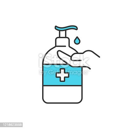 istock Disinfection and Hand Sanitizer Icon Vector Design on White Background. 1218623558