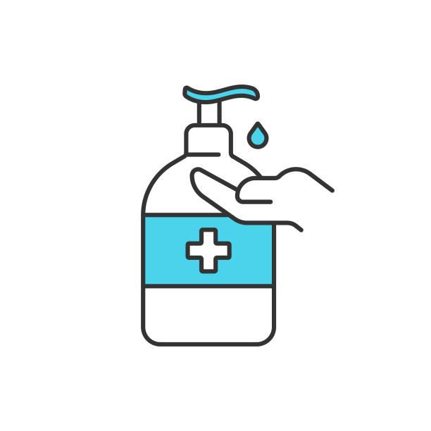 ilustraciones, imágenes clip art, dibujos animados e iconos de stock de diseño vectorial de icono de desinfectación y desinfectante de manos sobre fondo blanco. - hand sanitizer