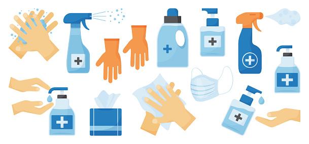 Disinfection. Hand hygiene. Set of hand sanitizer bottles, face medical mask, washing gel, spray, wet wipes, liquid soap, rubber gloves, napkins. Vector