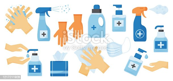 istock Disinfection. Hand hygiene. Set of hand sanitizer bottles, face medical mask, washing gel, spray, wet wipes, liquid soap, rubber gloves, napkins. Vector 1217211928