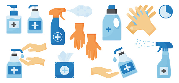 Disinfection. Hand hygiene. Set of hand sanitizer bottles, washing gel, spray, wet wipes, liquid soap, rubber gloves, napkins. Vector