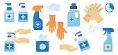 Disinfection. Hand hygiene. Set of hand sanitizer bottles, washing gel, spray, wet wipes, liquid soap, rubber gloves, napkins. Vector illustration