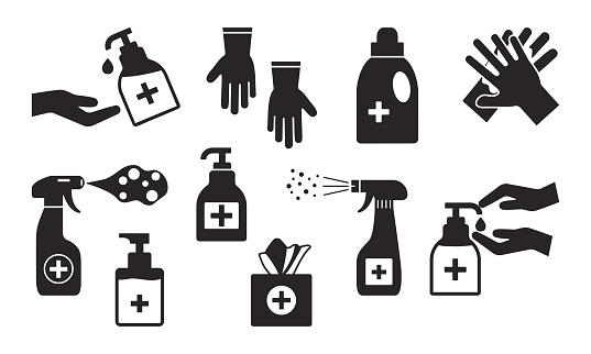 Disinfection. Hand hygiene. Set of hand sanitizer bottles, washing gel, spray, wet wipes, liquid soap, rubber gloves, napkins. Black icons. Vector