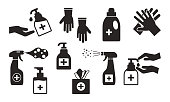 Disinfection. Hand hygiene. Set of hand sanitizer bottles, washing gel, spray, wet wipes, liquid soap, rubber gloves, napkins. Black icons. Vector illustration