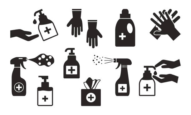 illustrazioni stock, clip art, cartoni animati e icone di tendenza di disinfection. hand hygiene. set of hand sanitizer bottles, washing gel, spray, wet wipes, liquid soap, rubber gloves, napkins. black icons. vector - salvietta umidificata