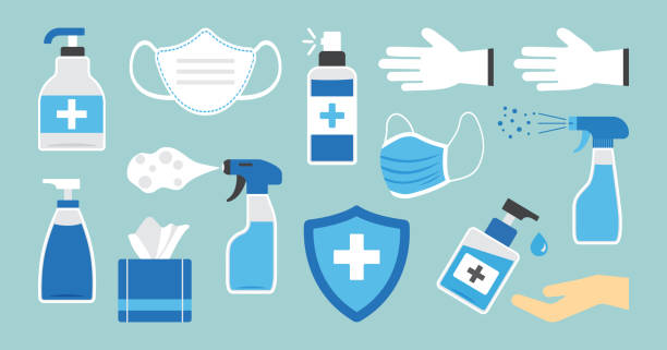 illustrazioni stock, clip art, cartoni animati e icone di tendenza di disinfection. hand hygiene. set of hand sanitizer bottles, washing gel, spray, wipes, liquid soap, gloves. ppe personal protective equipment. vector - salvietta umidificata