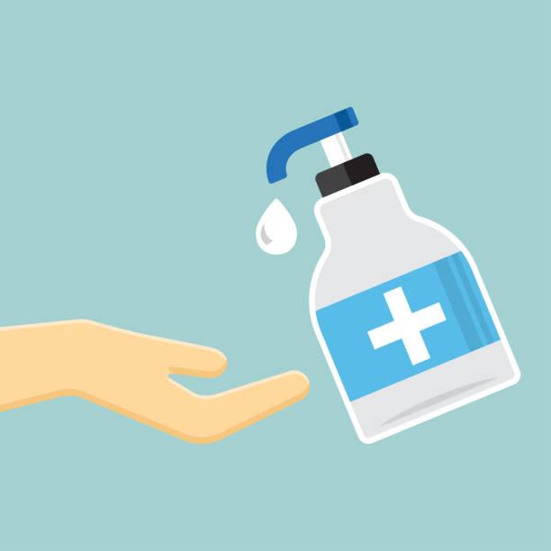 ilustraciones, imágenes clip art, dibujos animados e iconos de stock de desinfección. icono de la botella desinfectante de manos. ilustración vectorial - hand sanitizer