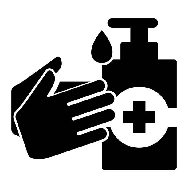 ilustraciones, imágenes clip art, dibujos animados e iconos de stock de desinfección desinfectante de manos icono vectorial - hand sanitizer