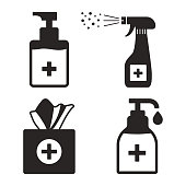 Disinfection. Hygiene. Set of hand sanitizer bottles, washing gel, spray, wet wipes, liquid soap, napkins. Vector illustration