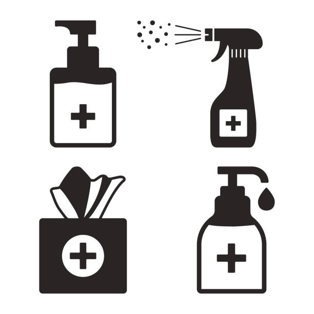illustrazioni stock, clip art, cartoni animati e icone di tendenza di disinfection. hygiene. set of hand sanitizer bottles, washing gel, spray, wet wipes, liquid soap, napkins. vector - salvietta umidificata