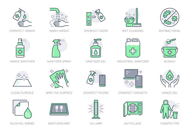 dezenfeksiyon hattı simgeleri. vektör illüstrasyon sprey şişesi, zemin temizleme paspas, yıkama el jeli, otoklav uv lamba anahat pictogram housekeeping için yeşil renk, düzenlenebilir vuruş olarak simge dahil - cleaning stock illustrations