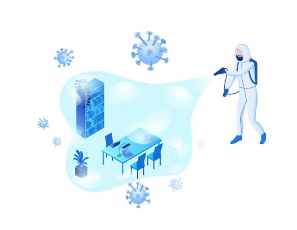 Desinfektion des Büroraums aus Coronavirus zur Vermeidung von 2019-nCoV-Kontamination, Mann im Hazmat-Anzug und Schutzmaske Sprühdesinfektionsmittel auf Viruspartikel, isometrische Vektor-3D-Illustration – Vektorgrafik