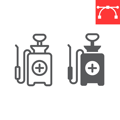 Disinfection pressure sprayer line and glyph icon, hygiene and disinfection, disinfectant canister sign vector graphics, editable stroke linear icon, eps 10.