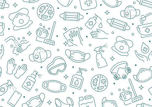 Disinfection seamless pattern. Vector background included line icons as aerosol, sanitizer, wet cleaning, protection mask pictogram for antibacterial housekeeping