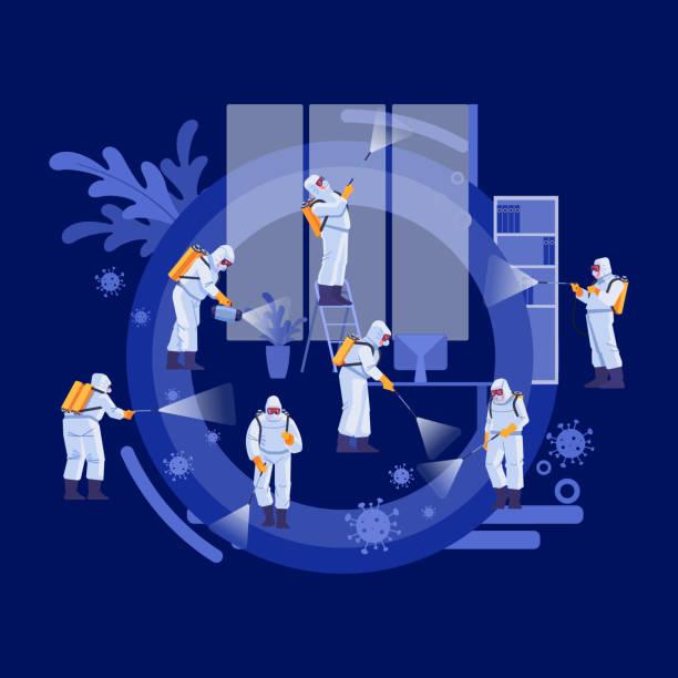 소독 서비스 및 딥 클리닝 개념. 코로나 바이러스, 전염병. 균일 한 청소 및 오염 제거에서 관리인의 그룹은 감염 covid-19를 억제합니다. 벡터 일러스트레이션 - 단정한 사무복 stock illustrations
