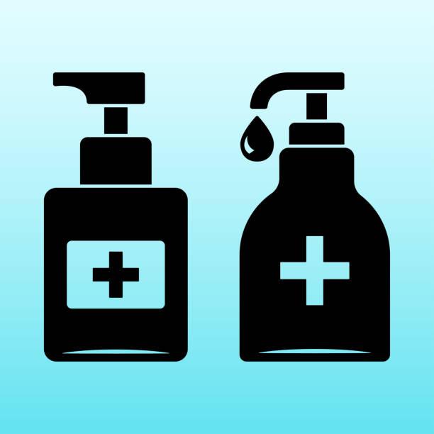 ilustraciones, imágenes clip art, dibujos animados e iconos de stock de desinfección. conjunto de iconos de botella de desinfectante de la mano, gel de lavado. ilustración de vector - hand sanitizer