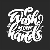 Vector illustration of text lettering wash your hands. Cute hand drawn artwork with coronavirus 2019-nCoV protection in doodle style. Disinfection, skin care and antibacterial protection