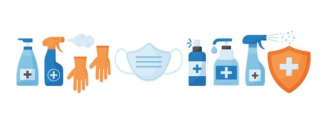 Disinfection. Virus prevention icons. Face medical mask, gloves, hand sanitizer bottles. Medical insurance. Vector
