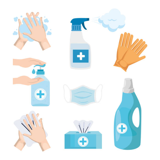 Disinfects icon set vector design vector art illustration