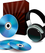Illustration of Disk,Box and Headphones
