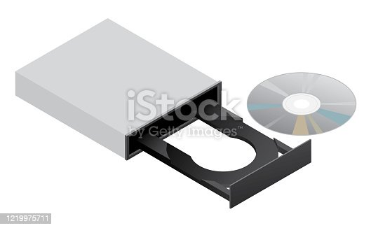 Sharp 3D CD ROM DVD R computer disk drive isolated vector illustration for easy editing.
